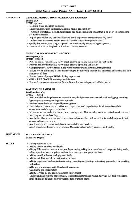 Laborer Resume by Warehouse Laborer Resume Sles Velvet