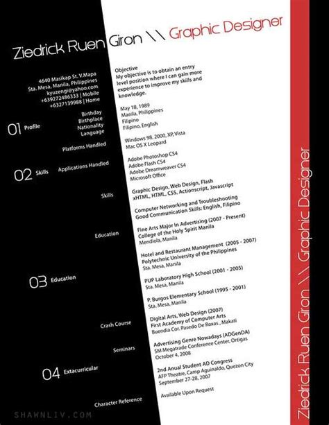 top 25 creative and outstanding resume cv sles