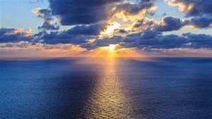 Beautiful ocean, sky, horizon, clouds, sun, water - HD ...