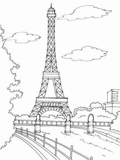 Coloring Paris Tower Pages Eiffel Adult Sheets