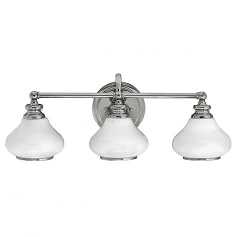 Led Over Bathroom Mirror Wall Light In Chrome With 3 Opal