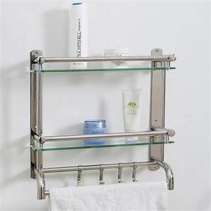 wall mounted stainless steel bathroom shelf rack 2 tier With shelf with hooks for bathroom