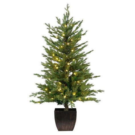 hillside 4ft pre lit cbrostmasf artificial tree potted pre lit warm white led