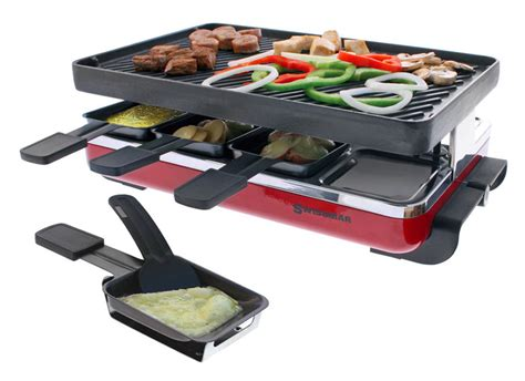 swissmar classic raclette grill  reversible cast iron grill plate  person red cutlery