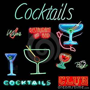 Cocktails Collage Neon Sign Stock s Image