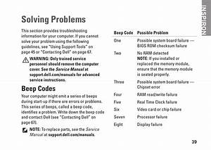 Solving Problems  Beep Codes  Inspiron