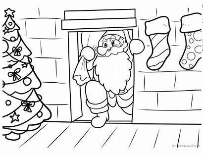 Santa Coloring Printable Chimney Dibujos Chimenea Down