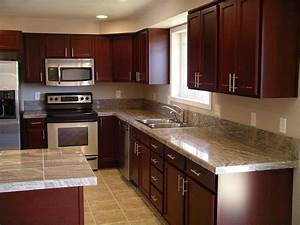 Cherry Wood Kitchen Cabinets With Black Granite Knotty