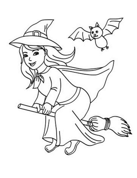 beautiful  girl wearing witch costume coloring page