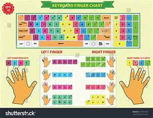 Keyboard Finger Chart Left Right Finger Stock Vector 297853160