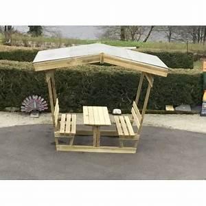 Table Et Banc De Jardin : table en bois avec banc tonnelle ou pergola pour pique nique ~ Melissatoandfro.com Idées de Décoration
