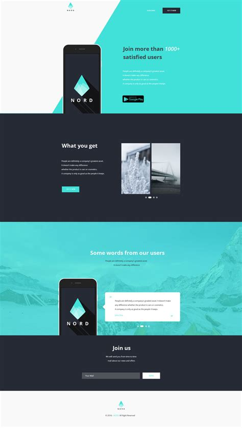 nord simple app landing  page template graphberrycom