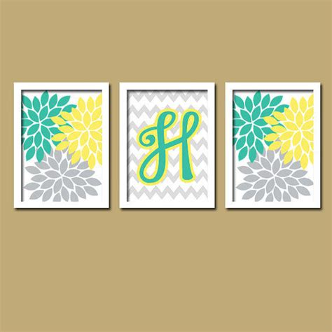 yellow gray and teal bathroom yellow teal turquoise grey monogram from trm design home