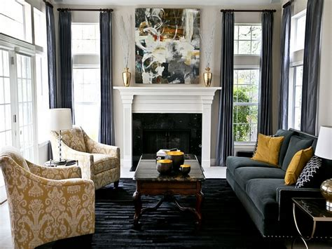 modern decor accents charcoal grey  yellow living room