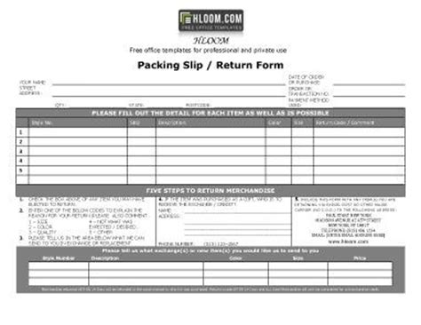 packing sliptemplates word  excel packing