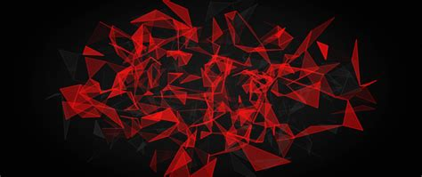 Red And Black Polygon, Hd 8k Wallpaper