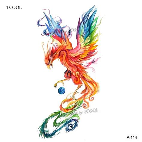 tcool colorful watercolor phoenix dragon temporary tattoos