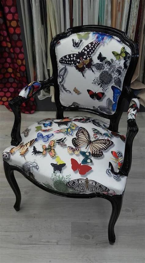 refection siege réfection de siège avec tissu papillons réalisations