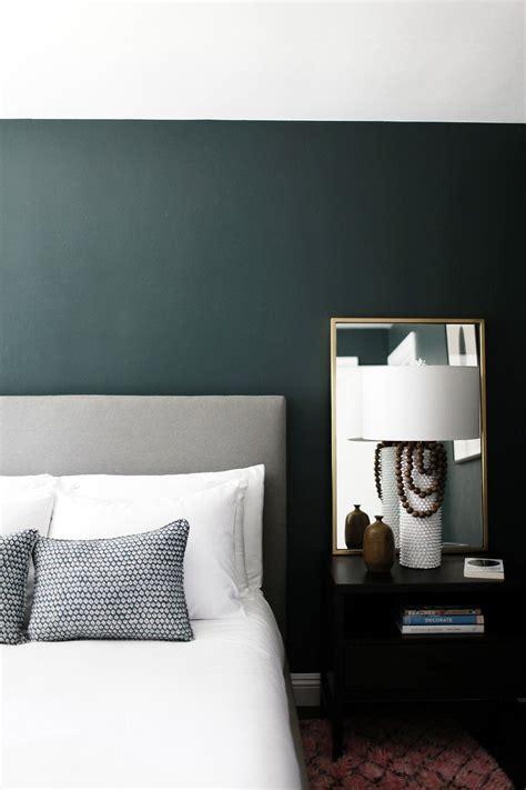 minimalist bedroom  dark green walls gorgeous paint color  crisp romaine  benjamin