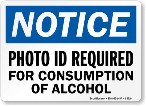 plastic fence bar signs photo id required for consumption of