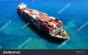Large Container Ship Sea Aerial Footage Stock Photo ...
