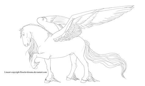 lineart pegasus deviantart stallion rosela kitsuna horse horses winged rearing coloring pages balinor characters sketch template