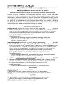 registered dietitian resume objective dietitian resume exles resume format 2017