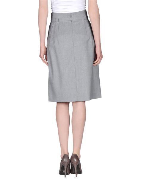 high waisted skirt blue lyst akris punto knee length skirt in gray