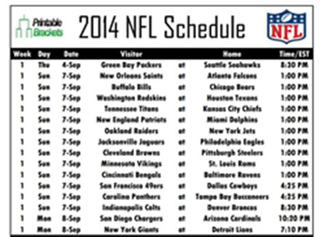 printable nfl schedules    teams