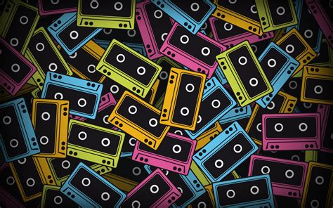 blue multicolor yellow pink cassette tape wallpapers