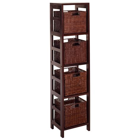 Baskets For Billy Bookcases by Winsome Leo 5 Set 4 Shelf Wood Bookcase With 4