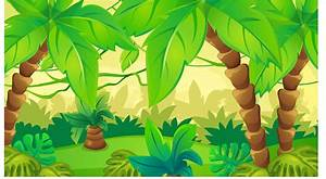 Cartoon Green Cute Forest Rainforest Jungle Theme backdrop ...