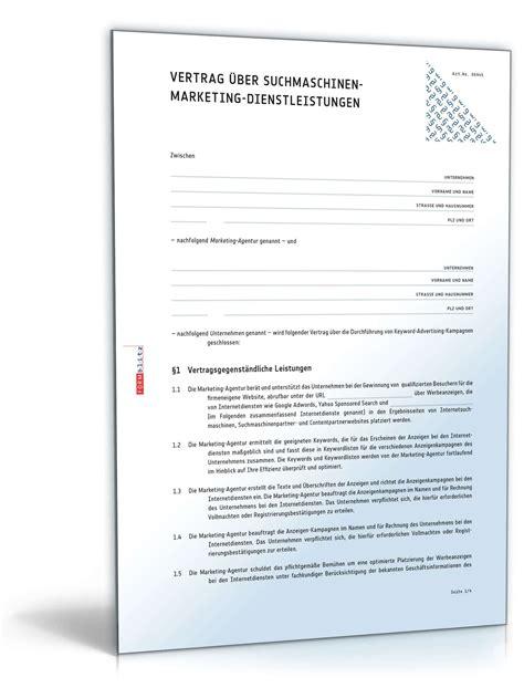Die vertragsmuster sind als checkliste mit formulierungshilfen zu. Vertrag Suchmaschinenmarketing | Muster zum Download