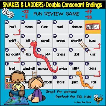 """Double Consonant Endings (ll, Ss, Ff, Zz) Game """"snakes And Ladders""""  My Tpt Products"""