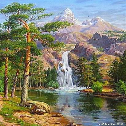 Landscape Animated Waterfall Picmix Nature Paysage Painting