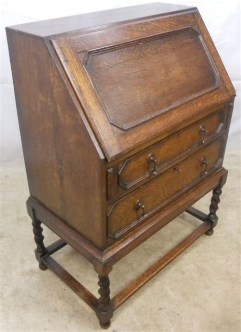jacobean style oak writing bureau 101182 sellingantiques co uk