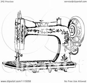 Clipart Vintage Black And White Antique Sewing Machine 1 ...