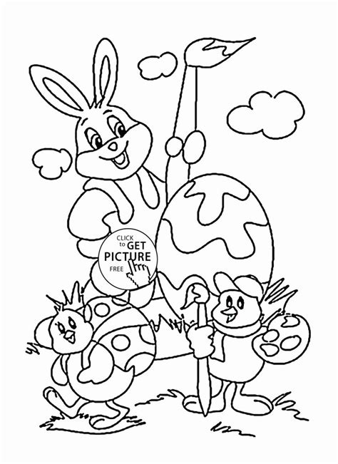 funny easter bunny  chicks coloring page  kids