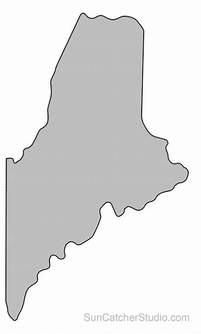 Outline State Maine Shape Map Printable Pattern