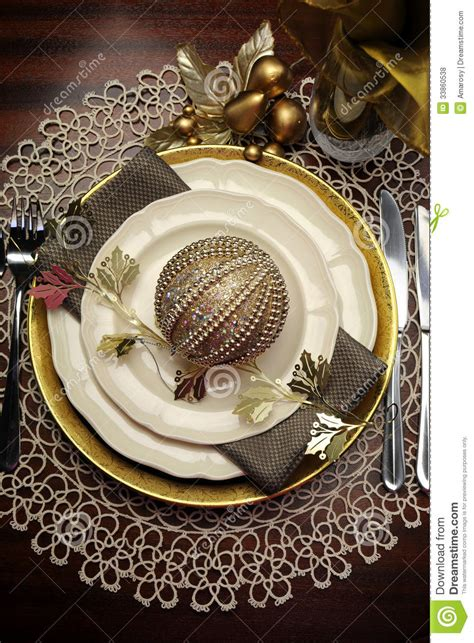 gold metallic theme christmas formal dinner table place