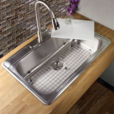 drop in single bowl kitchen sink shop 33 inch 18 stainless steel drop in single bowl 9624