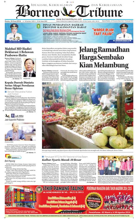 harian borneo tribune  juni   borneo tribune press