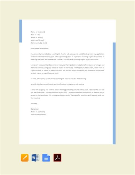 job application letter  teacher templates