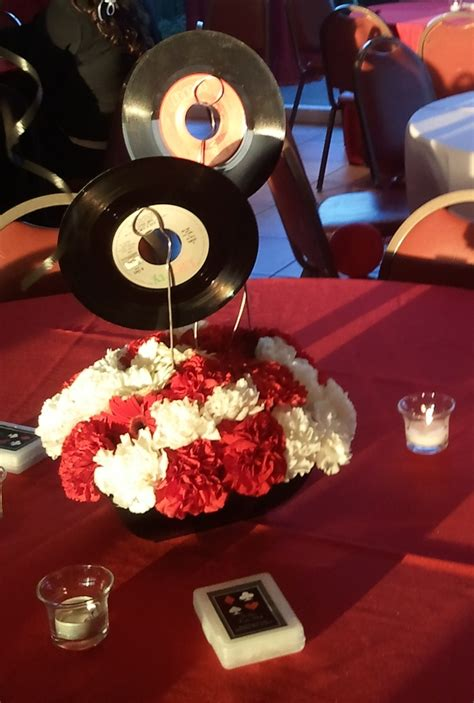 music themed table decorations 45 records centerpieces event planning pinterest 45