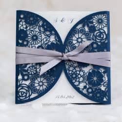 navy blue wedding invitations navy blue laser cut wedding invitations with ribbon ewws034 as low as 1 99