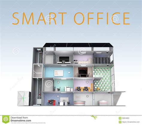 Smart Office Concept. Energy Support By Solar Panel, Storage To Battery System. With Text Stock