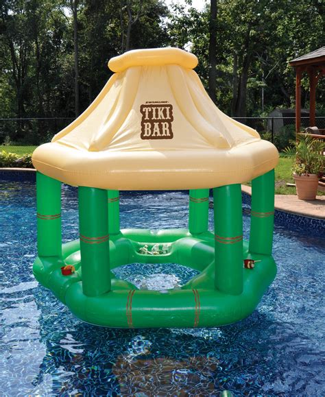 swimline 90245 swimming pool inflatable floating tiki swim up bar w ice coolers ebay