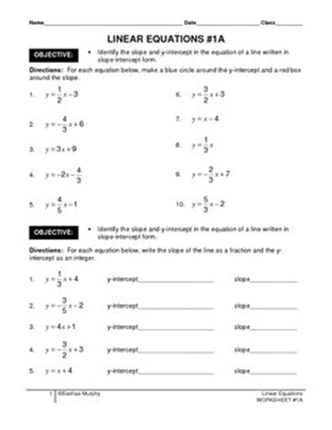 linear equations identify slope y intercept from