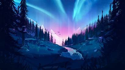 4k Forest Illustration Auroral 1080p Wallpapers Resolution