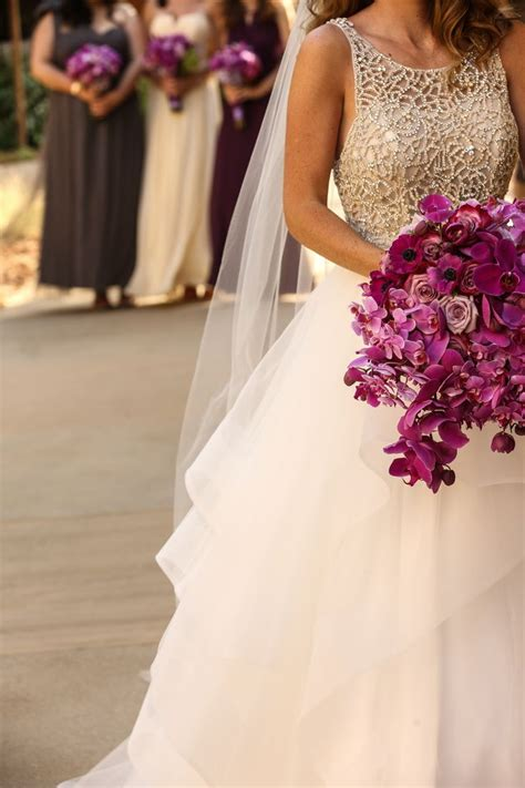 Meritage Resort Wedding  Napa  Orchid Bouquet Purple